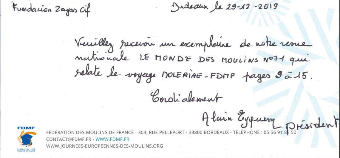 Agradecimiento de la presidenta de la Federación de Molinos de Francia